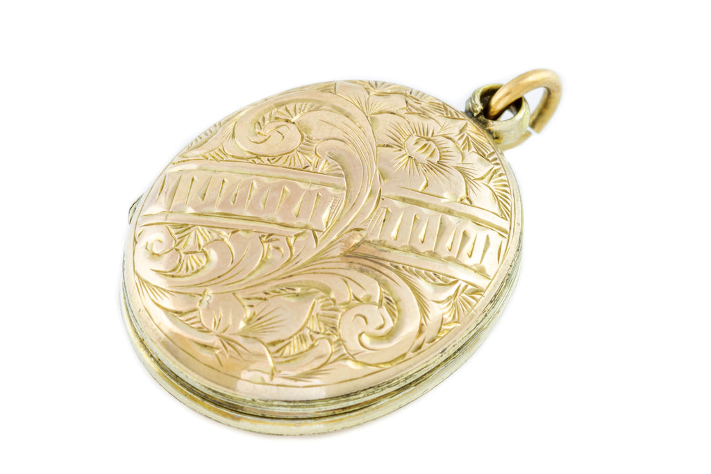 Sweet Antique Oval 9ct Gold Back and Front Locket c.1880