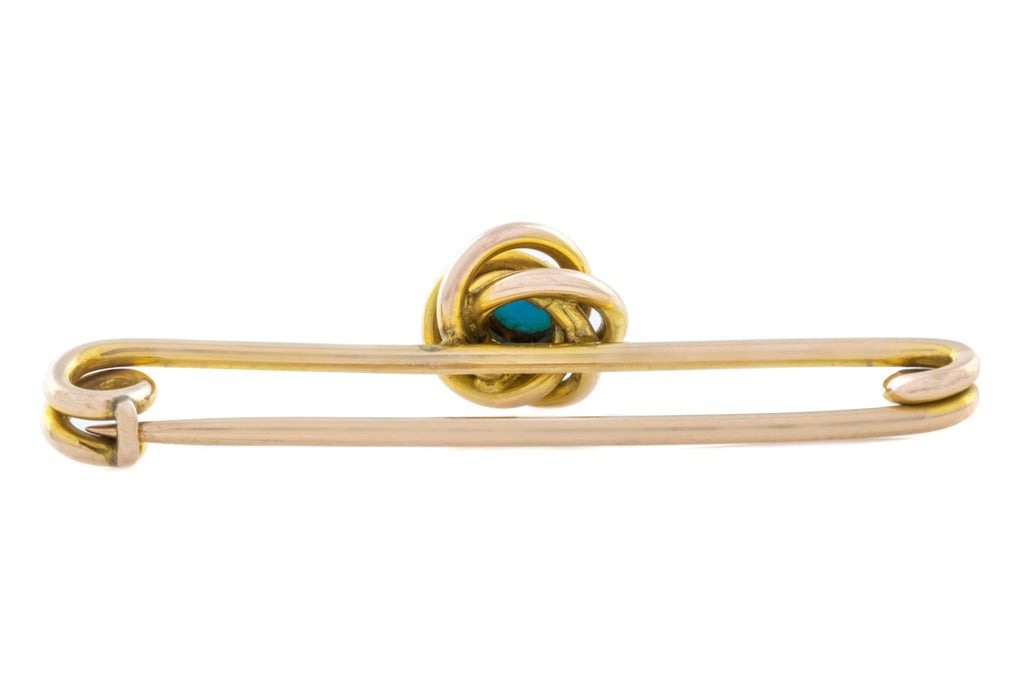 10ct Gold Antique Turquoise Pin Brooch
