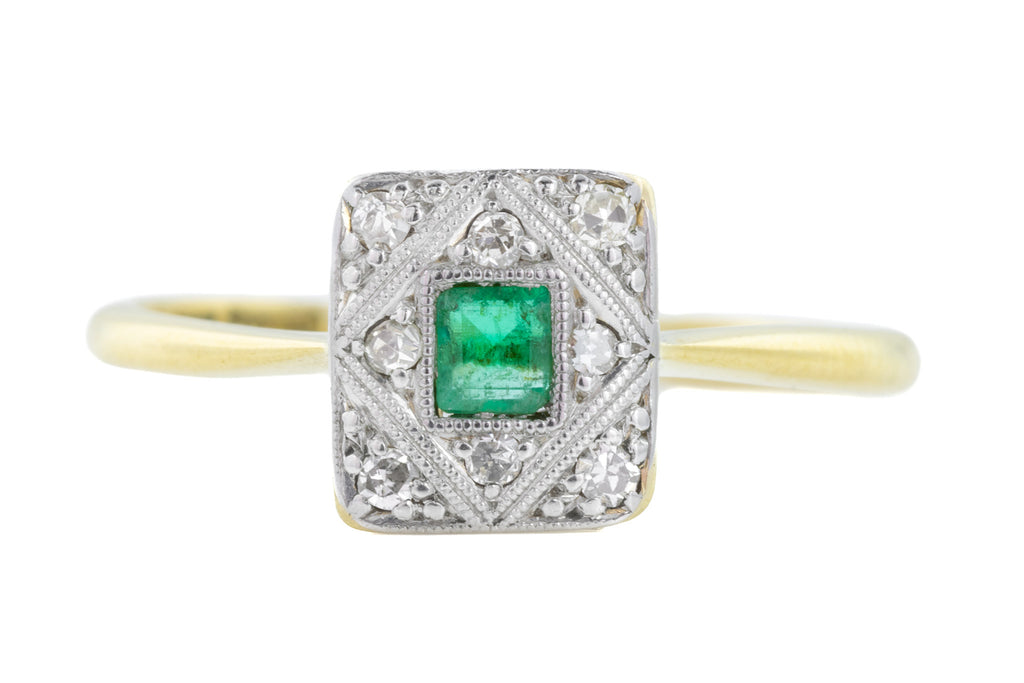 Art Deco Emerald and Diamond Ring in 18ct Gold and Platinum