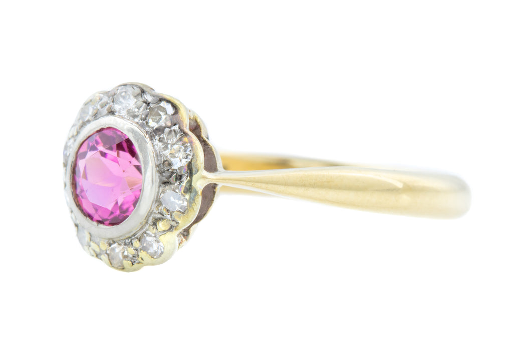 Art Deco Tourmaline and Diamond Cluster Ring (0.49ct)
