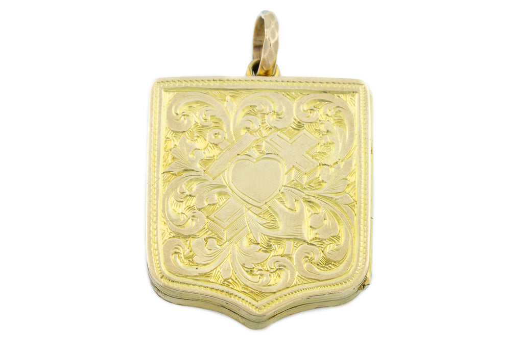 Gold Victorian Shield Locket, 9ct Gold Back and Front