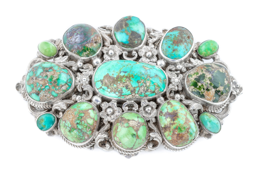 Large Austro-Hungarian Silver and Turquoise Matrix Brooch