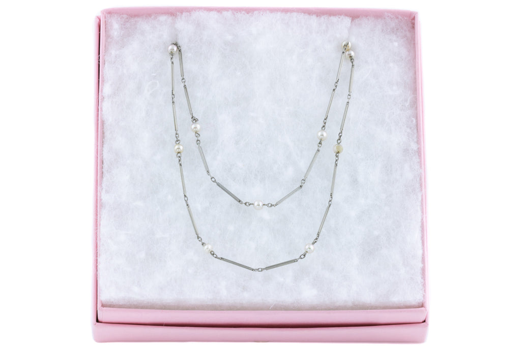 Art Deco Platinon and Pearl Necklace, 54""