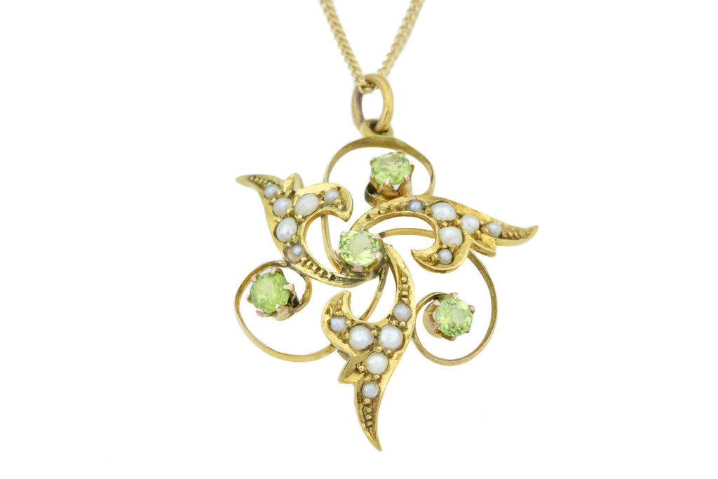 Antique Peridot and Pearl Trefoil Swirl Pendant