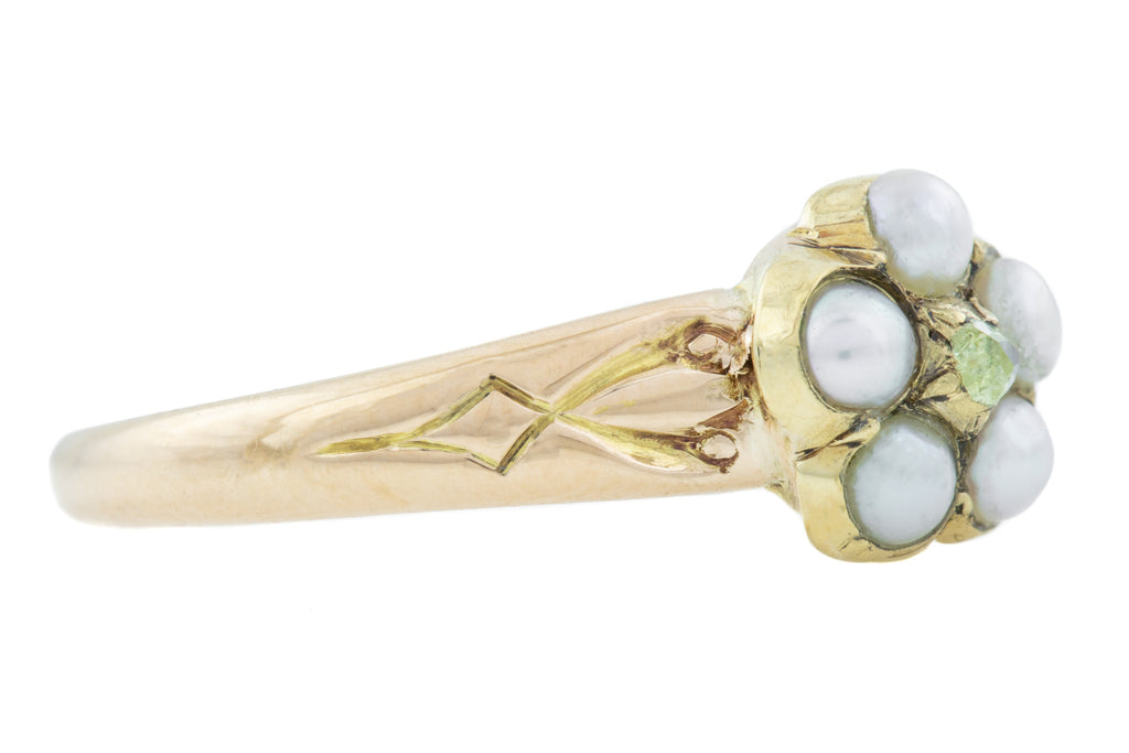 Antique Pearl and Diamond Flower Ring