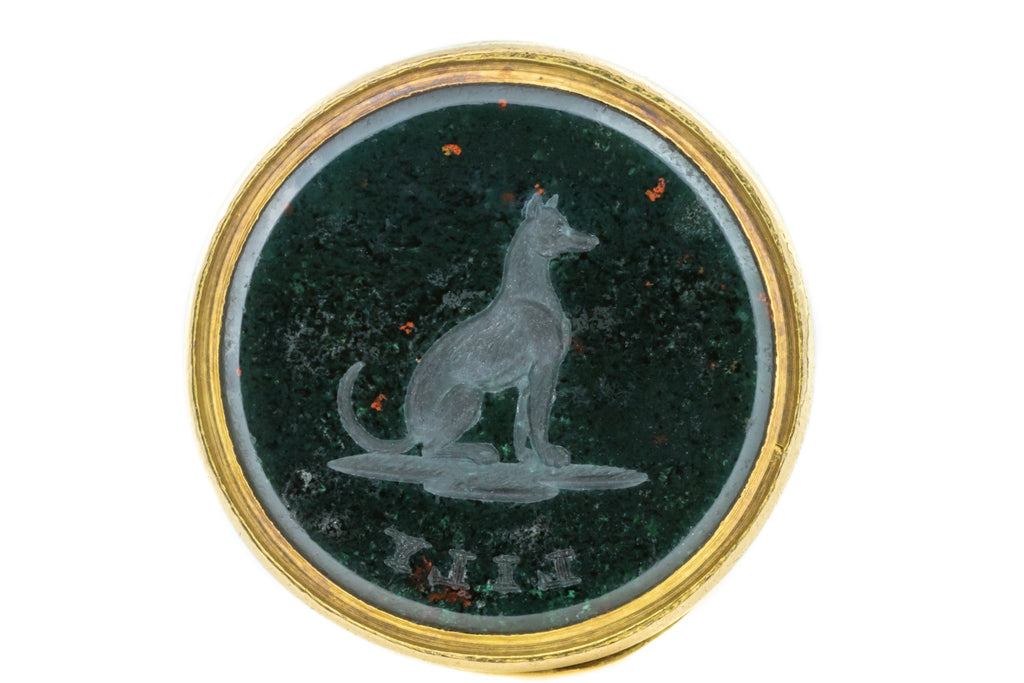 "18ct Gold Antique Bloodstone Fob Pendant with Sitting Hound ""Lily"" Intaglio"