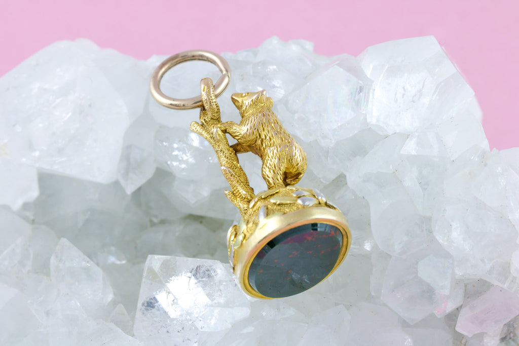 Solid 15ct Gold Antique Fob Pendant with Climbing Bear and Original Split Ring