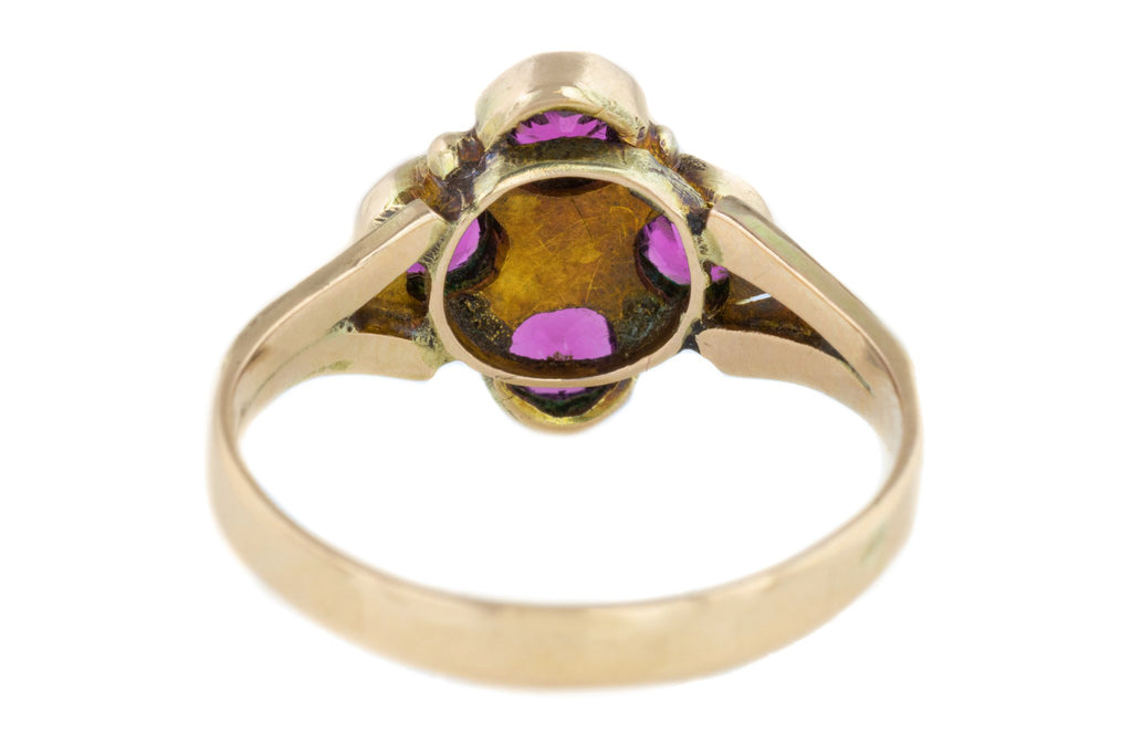 10ct Gold Antique Garnet and Pearl Cluster Ring (1.0ct)