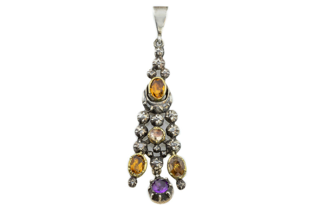 Victorian Amethyst Citrine and Diamond Drop Pendant