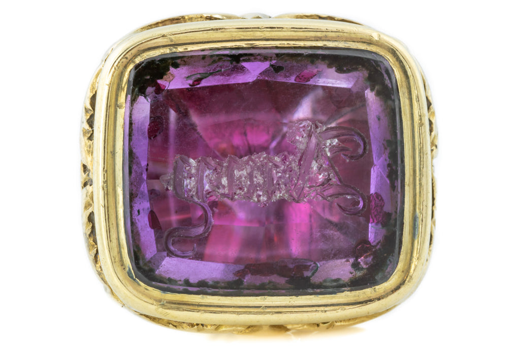 "Antique Amethyst Wax Seal Fob, ""AMY"" Intaglio"