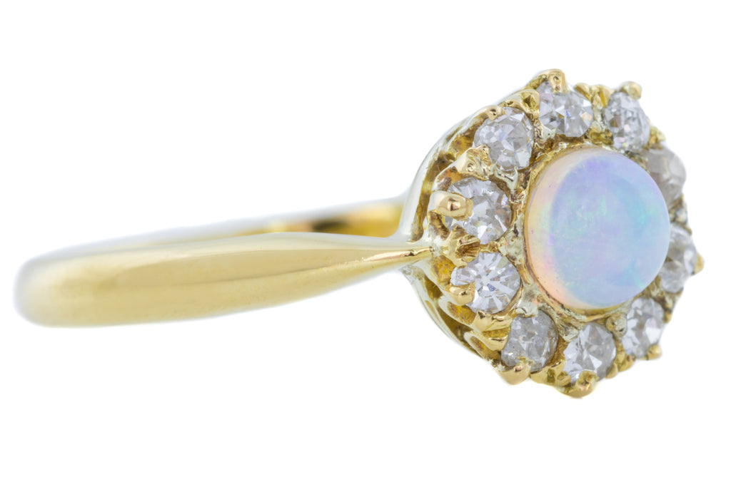 18ct Gold Edwardian Opal and Diamond Cluster Ring