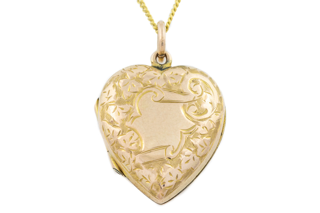 "9ct Gold Antique Heart Locket with 16"" Chain"