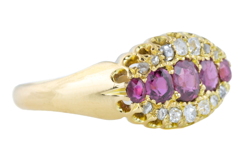 Gorgeous  Ruby and Diamond Victorian Cluster Ring