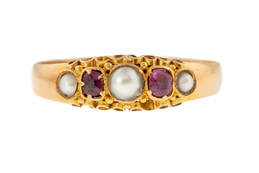 Antique Pearl and Ruby Five Stone Ring