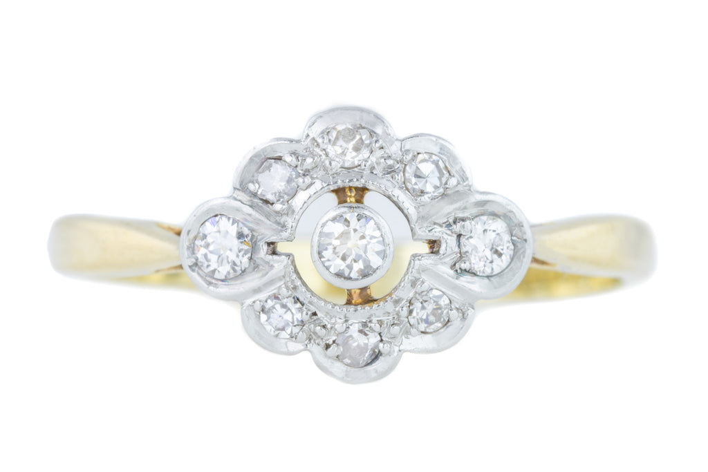 Antique 18ct Gold Diamond Cluster Ring (0.14ct)