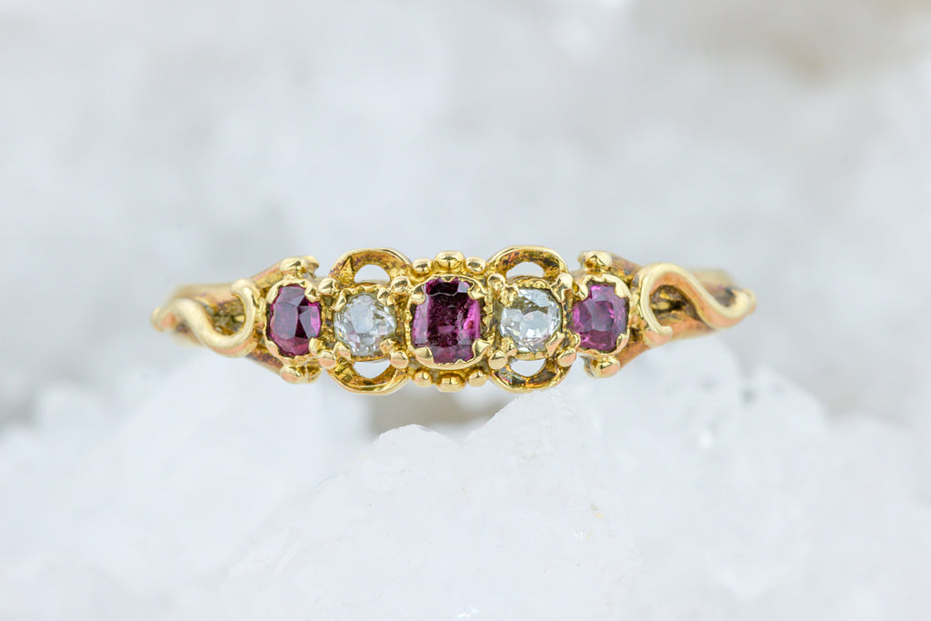 Antique Ruby and Chrysoberyl Five Stone Ring