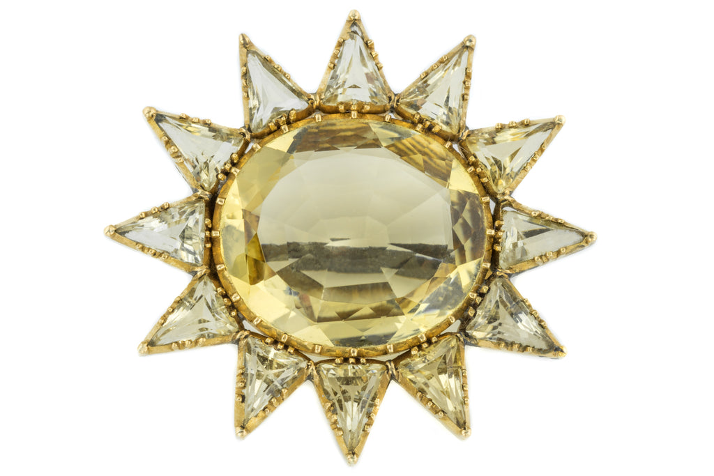 Antique 18ct Gold Citrine Brooch (11.84ct)
