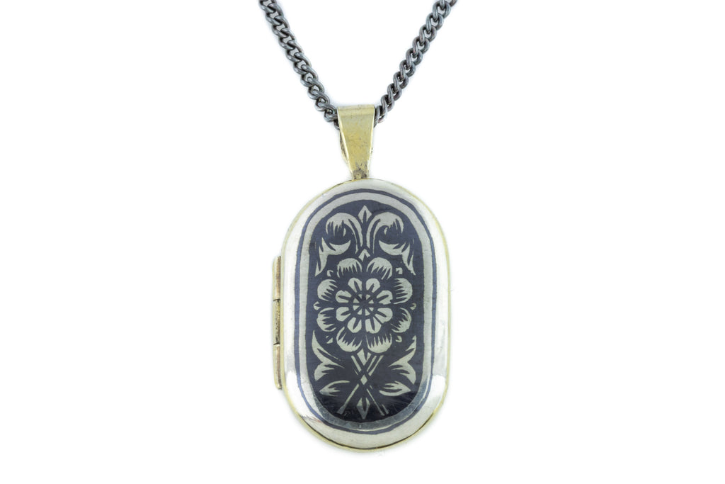 Vintage Russian Silver Niello Locket with Floral Pattern c.1954