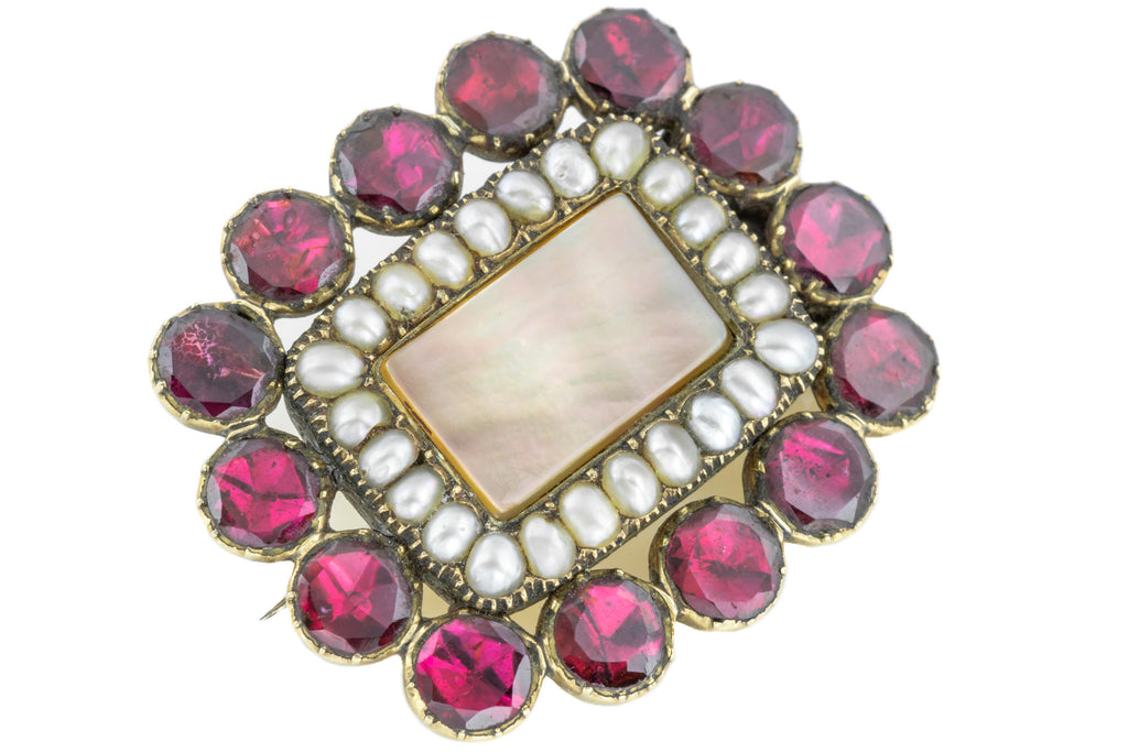 Georgian 15ct Gold Garnet and Pearl Brooch