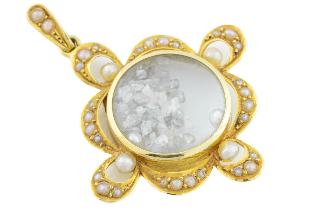 Pearl Shaker Locket - 15ct Gold Edwardian Locket