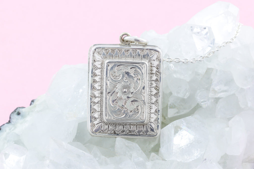 Victorian Aesthetic Silver Locket, with Adjustable Chain