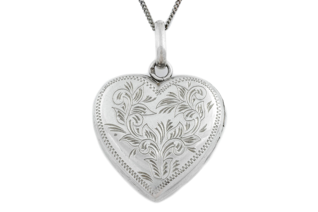 Vintage Silver Heart Locket, with adjustable Chain
