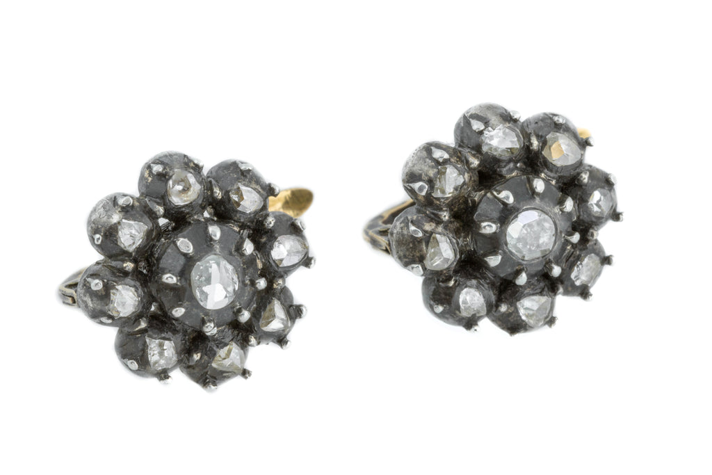 Antique Diamond Cluster Earrings (0.66ct) - set in 18ct Gold & Silver
