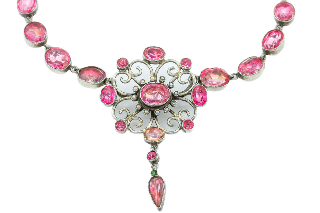 Georgian Pink Paste Necklace in Silver