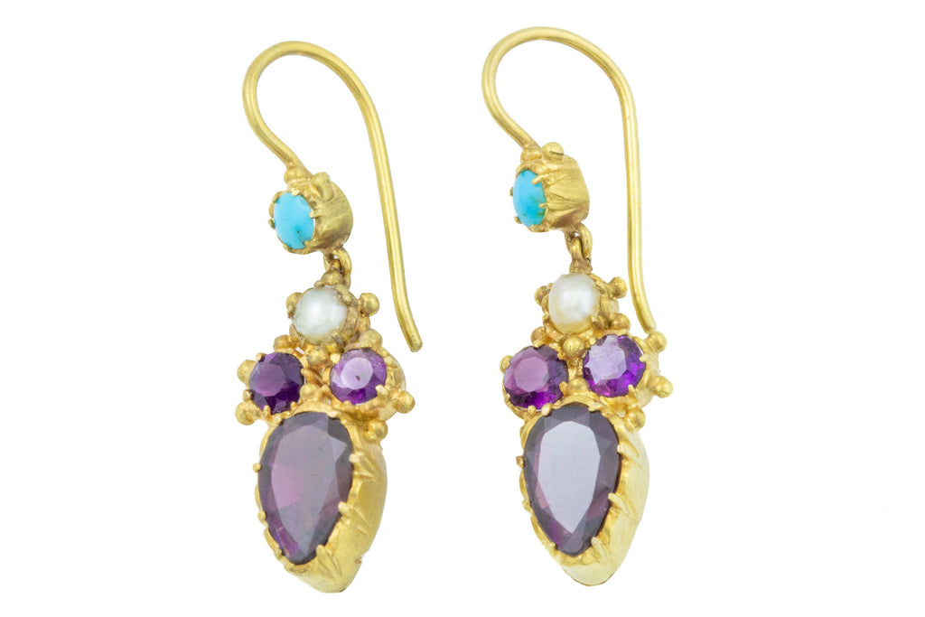 RESERVED! -Georgian Garnet Pearl & Turquoise Drop Earrings in 18ct Gold