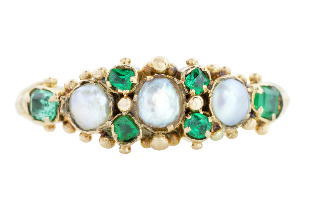 Victorian Pearl and Emerald Ring