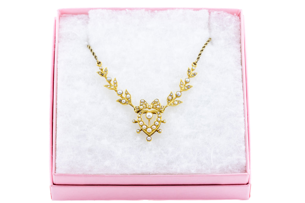 Superb 15ct Gold Edwardian Pearl Heart Necklace