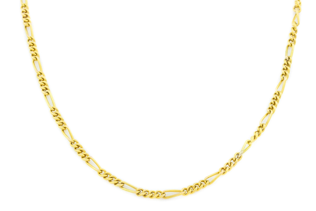 "Antique 18ct Gold Figaro Chain Necklace, 18"" (6.4g)"