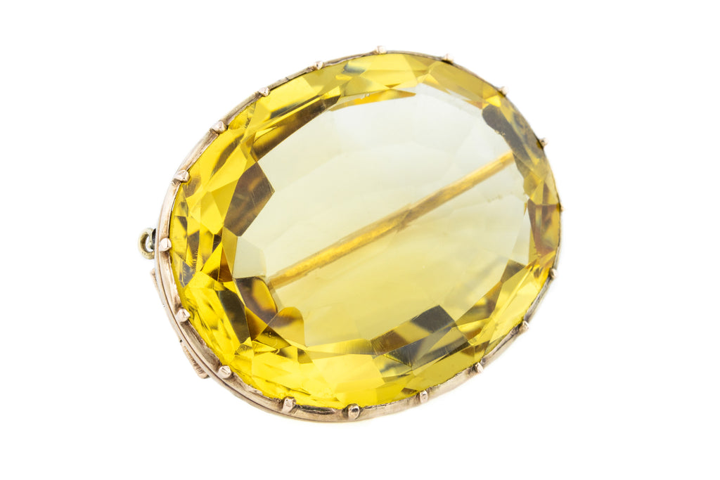 Antique 9ct Gold Citrine Brooch (30.08ct)