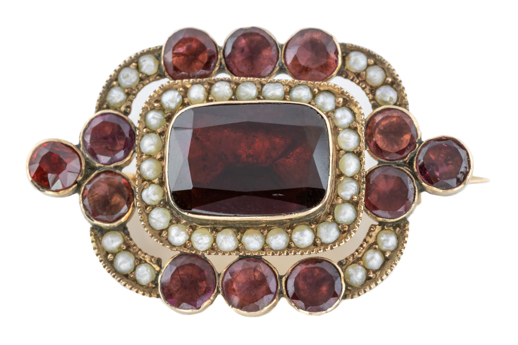 9ct Gold Georgian Garnet and Pearl Cluster Brooch
