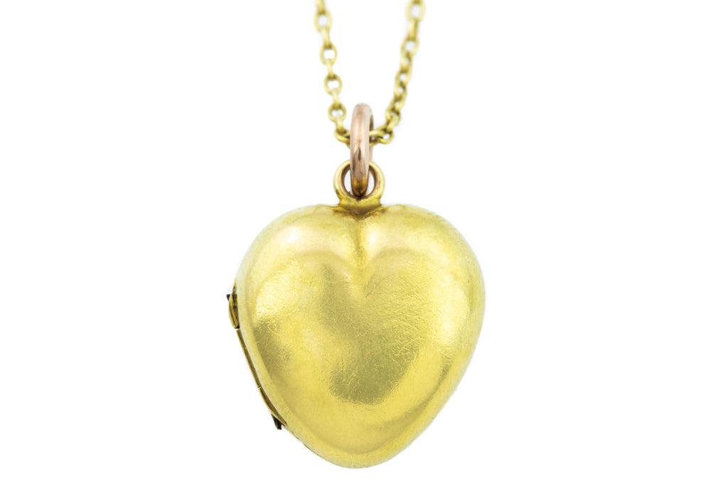 Rare Victorian Gold Garnet Heart Locket with Antique Gold Chain