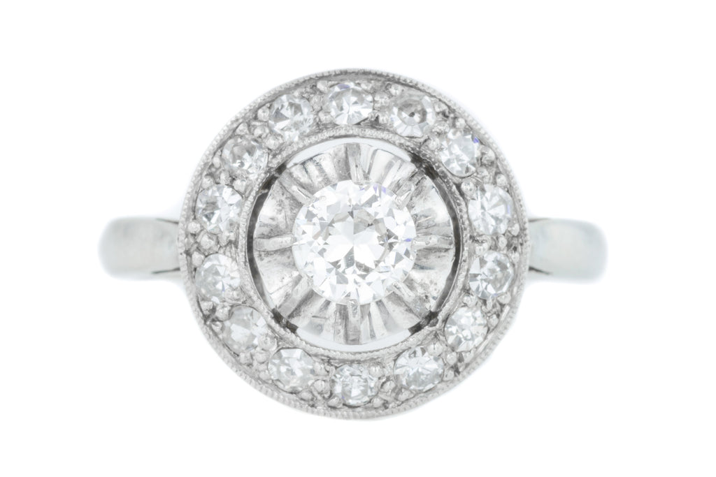 Art Deco French Diamond Cluster Ring in 18ct White Gold and Platinum (0.46ct)