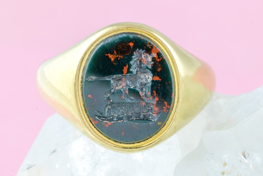 18ct Gold Antique Bloodstone Signet Ring with Lion Intaglio c.1863