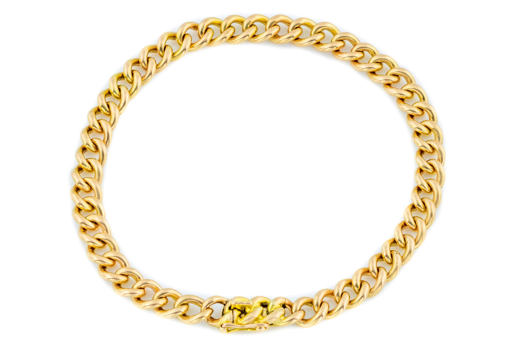 18ct Gold Antique Curb Link Bracelet (19.9g)
