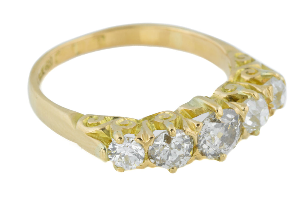 18ct Gold Antique Five Stone Diamond Ring (0.69ct)