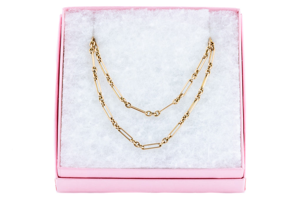 "Antique 9ct Gold Long Guard Chain Necklace, 56"" (25.4g)"