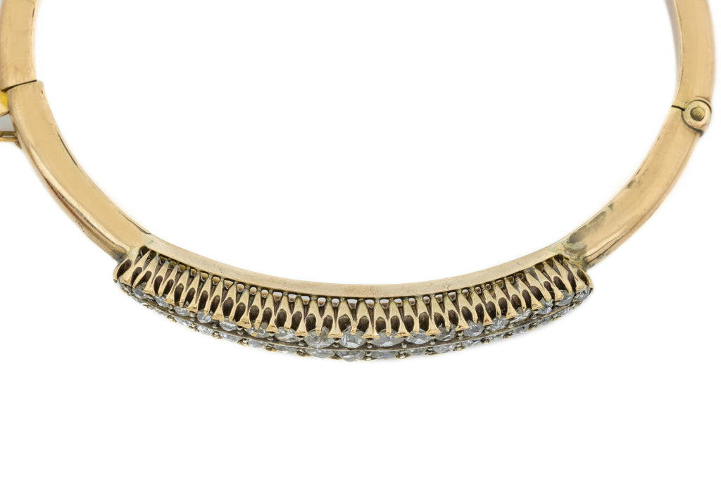 10ct Gold Antique Double Row Diamond Bangle (1.03ct)