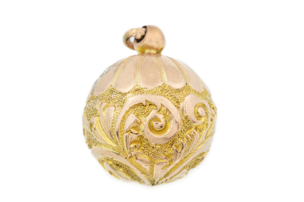 Antique 9ct Gold Ball Charm Pendant