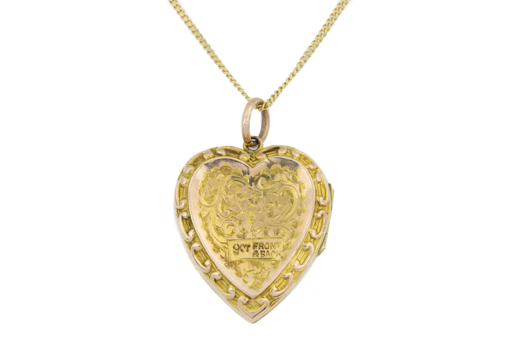 "Antique 9ct Gold Heart Locket, with 18"" Chain"