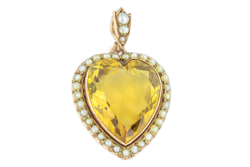 Antique 12ct Gold Citrine and Pearl Heart Pendant