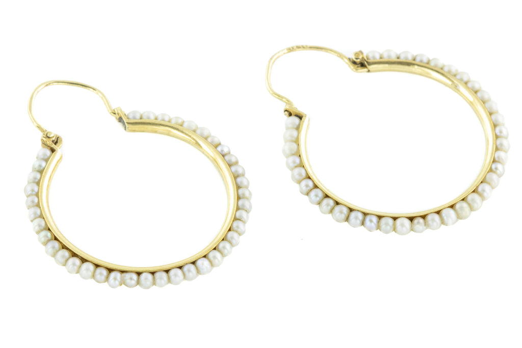 Antique 15ct Gold Pearl Hoop Earrings