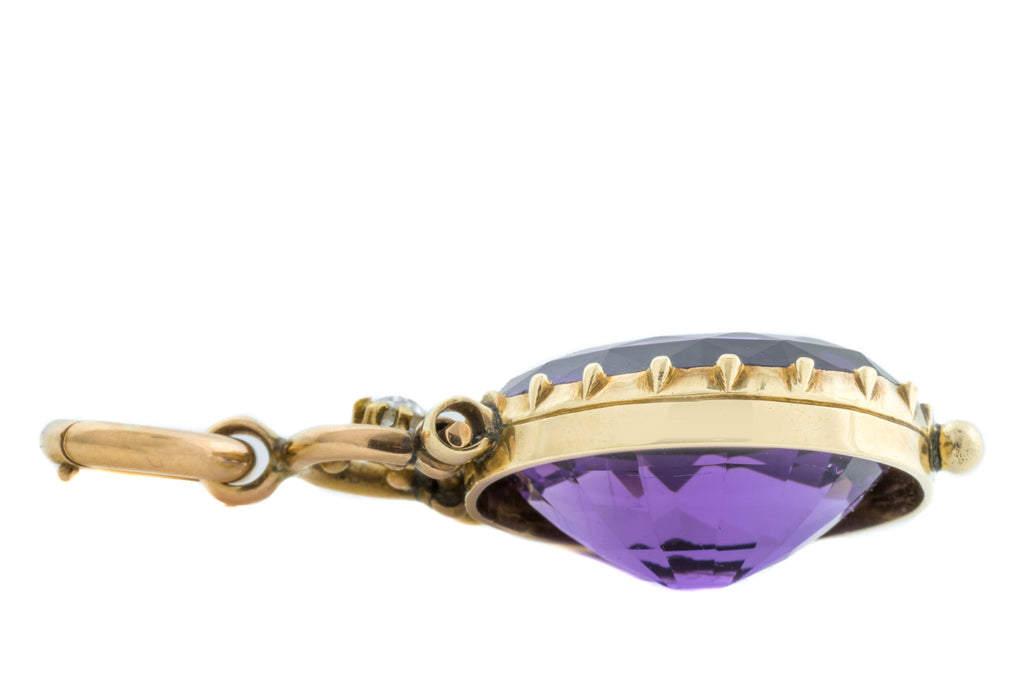 Victorian 15ct Gold Amethyst and Diamond Pendant (18.33ct)