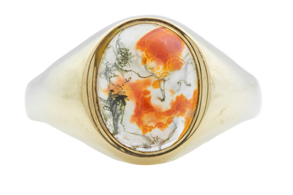 Antique 9ct Gold Moss Agate Signet Ring