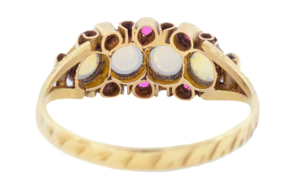 Rare Victorian Opaline Four Stone Ring in 12ct Gold c.1871