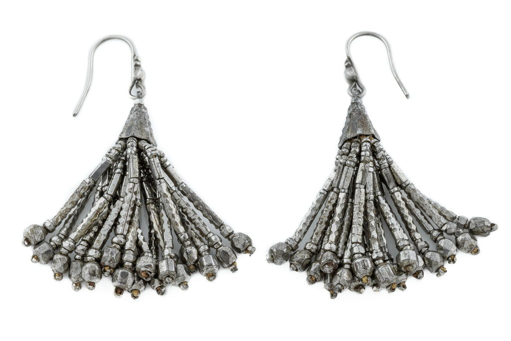 Georgian Cut Steel Tassel Earrings c.1800