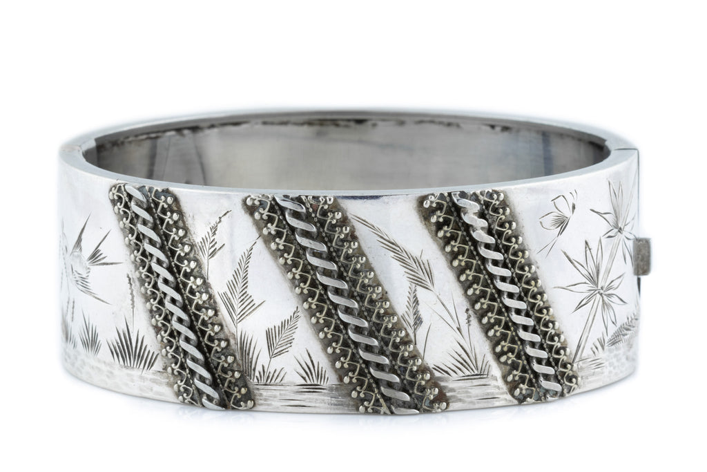 Victorian Aesthetic Silver Bangle